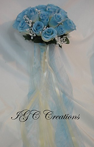 (Wedding Bridal Floral Flower Bouquet - Silk Rose Flowers Bouquets With Raindrops And Organza/Satin and/or Grosgrain Ribbon - Two Tone- Ivory/Blue (SRWB-048))