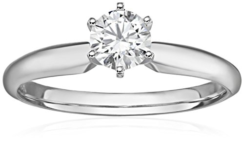 IGI Certified 14k White Gold Lab Created Diamond Solitaire Engagement Ring (1/2carat, G-H Color, SI1 - SI2 Clarity), Size 7 ()
