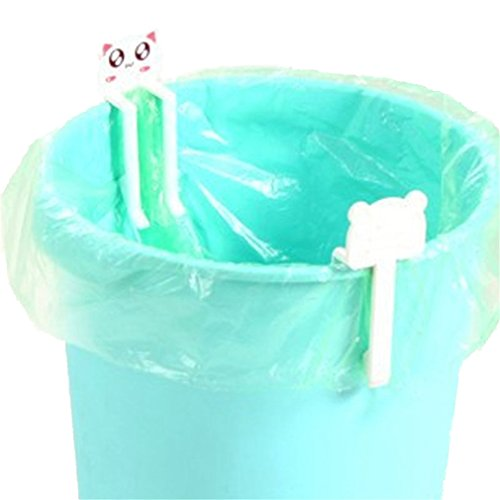 SONG LIN 2 pcs White Cute Cartoon Animal Creative Garbage Bag Clip Holder Trash Bin Clips