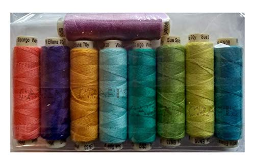 Sue Spargo Ellana Wool Blend Thread for Embroidery - Nine 70-Yard Spools, Matches The ''House'' Colorway 2 Wool Applique Pack by Sue Spargo