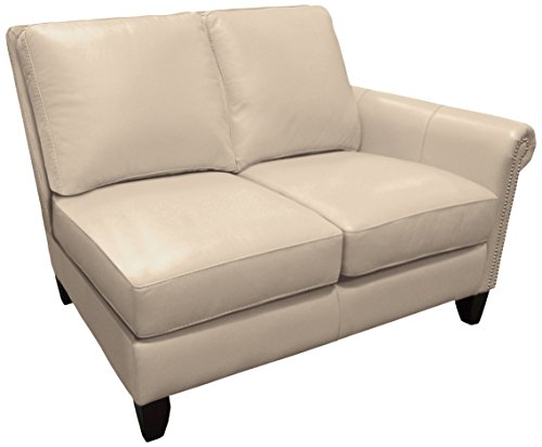 Omnia Leather Benjamin Right Arm 2 Cushion Loveseat in Leather, with Nail Head, Softstations White Winter