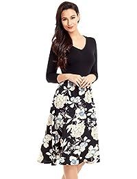 Women's Floral Print A Line V Neck 3/4 Sleeve Knee Length Dress