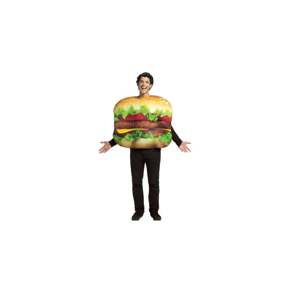 Cheeseburger Costume Food Suit Loaded Burger with Buns Theatrical Mens Costume