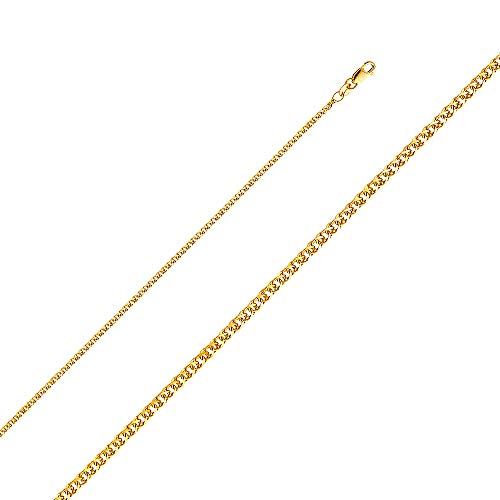 Wellingsale 14k Yellow Gold SOLID 1.7mm Polished Flat Open wheat Chain Necklace with Lobster Claw Clasp - 16