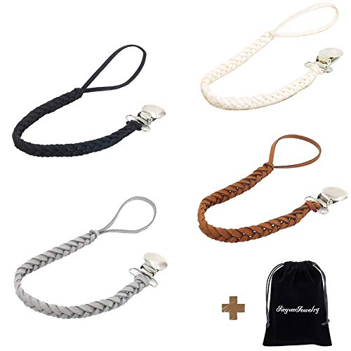 JieyueJewelry Leather Baby Pacifier Clips, Pack of 4, Handmade Suede Braided Leash Pacifier Teething Toy Holders for Boys and Girls, 10 inch (Black/Brown/Gray/White)