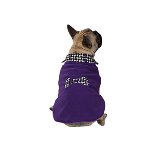 East Side Collection 10-Inch Polyester Houndstooth Dog Coat, X-Small, Ultra Violet