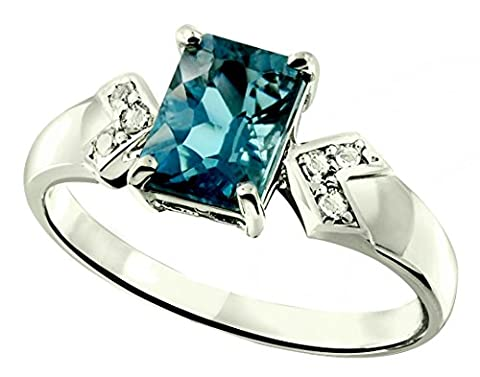Sterling Silver 925 Ring LONDON BLUE TOPAZ Octagon 2.35 Cts with Rhodium-Plated Finish (8) - Vintage Sterling Silver Gemstone Ring