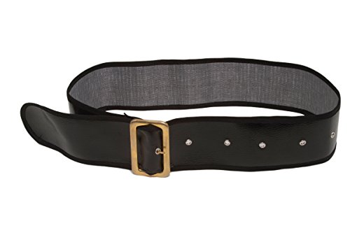 Jacobson Hat Company Men's Shiny Belt with Gold Buckle, Black, Adult