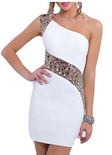 Jaycargogo Femmes Épaule Oblique Sexy Robes Sans Manches Épissures Sequin Blanc M