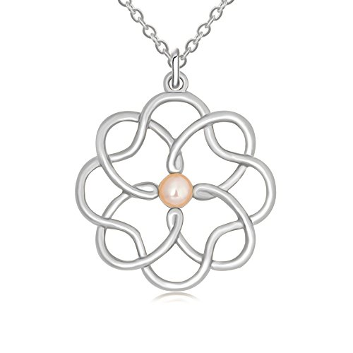 RUXIANG Flower Cloud and Cross Pearl Four Leaf Clover Pendant Necklace for Women (Pearl Clover Necklace)