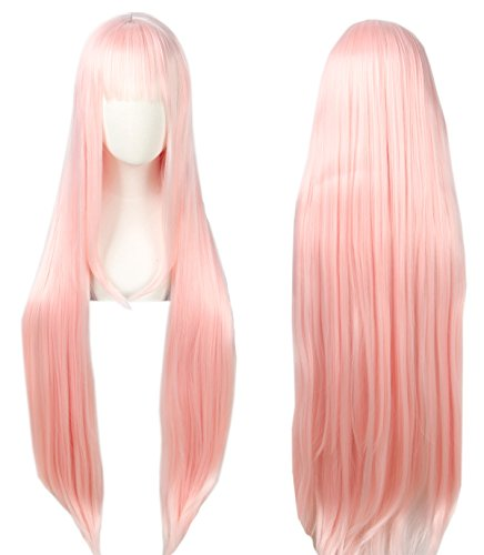 Linfairy Anime Cosplay Pink long Princess Wig Halloween Costume Wig for Women 100cm ()