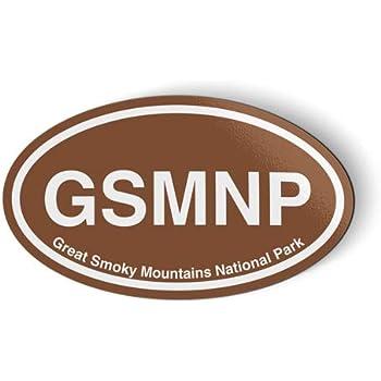 GSMNP Great Smoky Mountains National Park Oval Brown - Magnet for Car Fridge Locker - 5.5