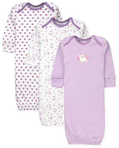 (Maybe Baby Kids Infant Boys' and Girls' 3 Pack Set Cotton Baby Gowns w/Mitten Cuffs & Easy Change Expandable Shoulders, 0-6 Months,)