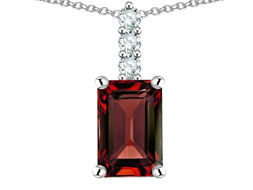 - Star K 8x6mm Octagon Emerald Cut Genuine Garnet Three Stone Pendant Necklace 14 kt White Gold