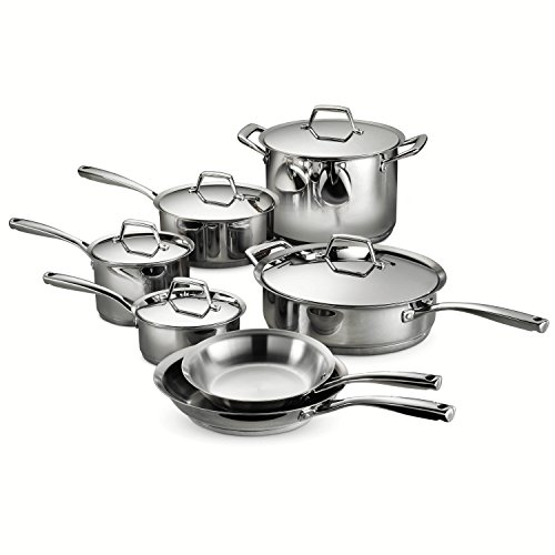 - Tramontina 80101/203DS Gourmet Prima Stainless Steel, Induction-Ready, Impact Bonded, Tri-Ply Base Cookware Set, 12 Piece, Made in Brazil