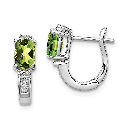 - 925 Sterling Silver Dia. August Simulated Birthstone Green Simulated Peridot Hinged Hoop Earrings (.02 cttw.) (14mm x 13mm)