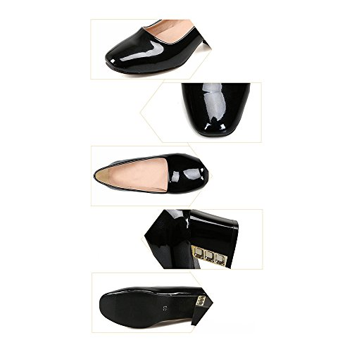Thin Heel black Middle Low Shoes Work 37 cut wqI1I7