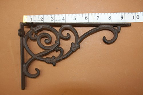 Elegant Americana Design Solid Cast Iron 9 1/4 inches, Vintage-look scroll work, Set of 2, B-62 by Cast Iron Decor (Image #1)
