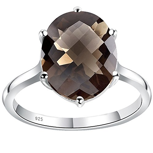Oval Shaped Faceted Smoky Quartz 925 Sterling Silver Ring for Women and Girls, Best Gift, Perfect for Engagement, Anniversary, Mother Day, Free Gift Box (3.57 Cttw, 12x10 MM, Available in Size 6) (Smoky Quartz Ring Faceted Oval)