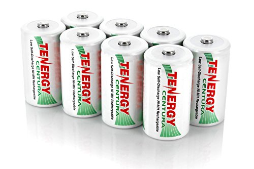 Tenergy Centura NiMH Rechargeable C Batteries, 4000mAh C Battery, Low Self Discharge C Cell Battery, Pre-charged C Size Battery, 8 Pack