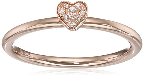 Jewelry Gold Collection (Sterling Silver with Pink Gold Plating Diamond Heart Ring, Size 7)