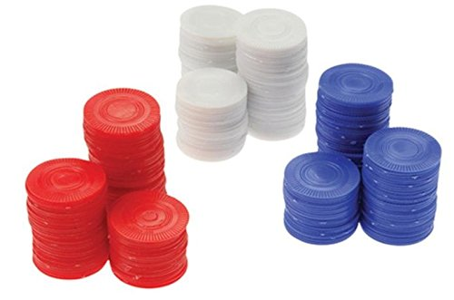 Plastic Chips - Red, White & Blue (100 Each) - Poker Bingo Card Game Counting Markers