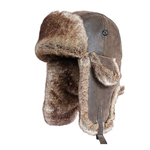 (Bomber Hats Faux Rabbit Fur Russian Vintage PU Leather Aviator Trapper Men Winter Warm Snow Ski Cap)