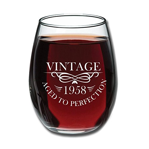 1958 60th Birthday 15 oz Stemless Wine Glass | Unique 60th Wedding Anniversary Gift Idea for Mom, Dad, Parents or Couple | 60 Year Old Gifts for Wife, Husband, Him, Her | Vintage Aged To Perfection