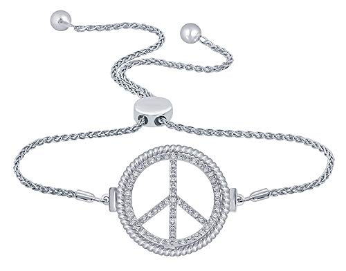 La Joya 1/10ct Round White Diamond Sterling Silver Peace Bracelet Charm Adjustable Bolo Bracelet for Women Teens Men's