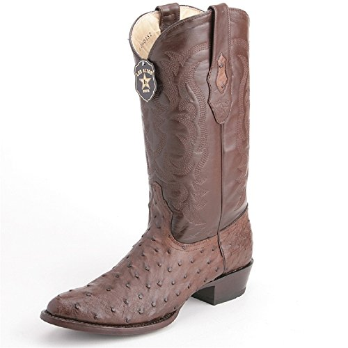 Los Altos Men's Round Toe Brown Genuine Leather Ostrich Skin Western Boots - Exotic Skin Boots (Stingray Cowgirl Boots)