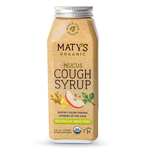 Matys Organic Mucus Cough Syrup, 6 Fluid Ounce, Organic Cough Remedy, Soothes Throats & Thins Mucus with Organic Honey, Ginger & Immune Boosting Ingredients, Helps Ease Common Cold Symptoms