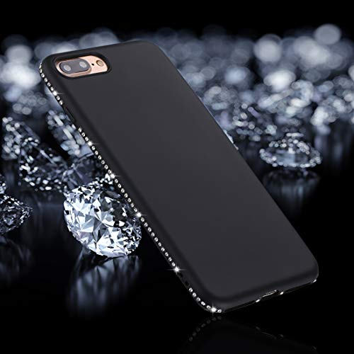 QGT for iPhone 8 Plus & 7 Plus Crystal Decor Sides Frosted Soft TPU Protective Back Case (Black) (Color : Black)