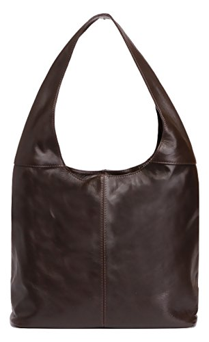 Image of LaGaksta Leather Hobo Handbag Made in Italy/Dark Brown