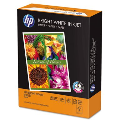 Bright White Inkjet Paper, 97 Brightness, 24lb, 8-1/2 x 11, 500 Sheets/Ream, Total 5 RM