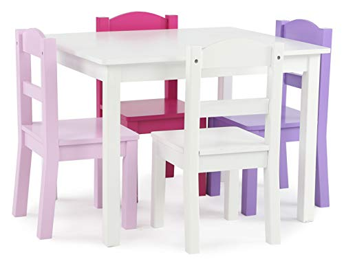 Toddler Girl's Wooden Table & 4 Chair Set, White/Pink & Purple