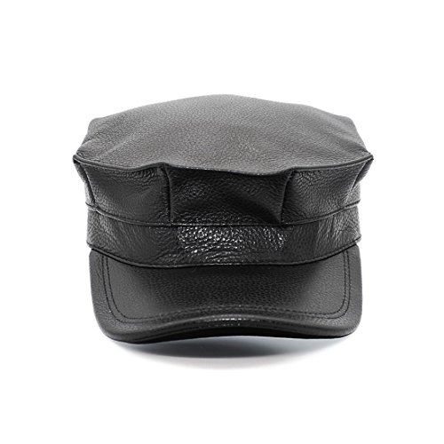 Mens Army Military Dad Genuine Leather Hat Trucker Cap Plus Size (Black, (Solid Genuine Leather Baseball Cap)