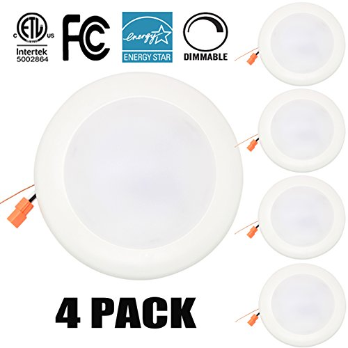 15W 7.5'' Dimmable LED Disk Light,Flush Mount Ceiling Fixture,LED Ceiling light,LED Downlight (120W Replacement), Daylight, ENERGY STAR, Installs into Junction Box Or Recessed Can,1200Lm5000K4PK(W)