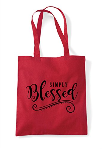 Blessed Shopper Bag Red Tote Simply Statement Decorative gqwvqZp