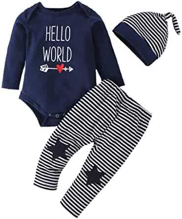 Baby Boy Girl Pajamas Set, Newborn Letter Print Cotton Romper Jumpsuit Stripe Pants Sleeping Cap Kids Nightwear Outfit