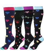 HLTPRO Compression Socks for Women & Men Circulation - 4 Pairs for Nurse, Medical, Flight, Running