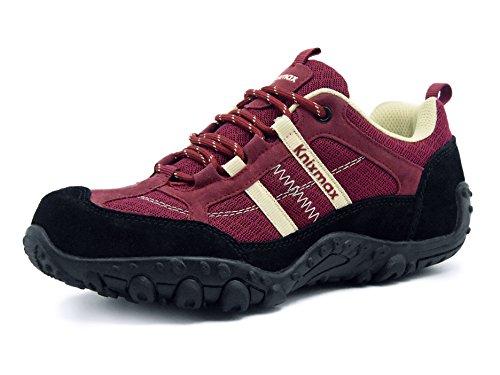 Knixmax Wanderschuhe Atmungsaktiv Trekking Schuhe Damen Sports Outdoor Anti-Rutsch-Sohle Hiking Boots Woman Trekking-& Wanderhalbschuhe Sneaker Wine