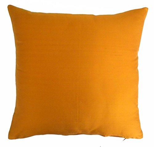Silk Throw Pillow Cover Orange 15x15 inch