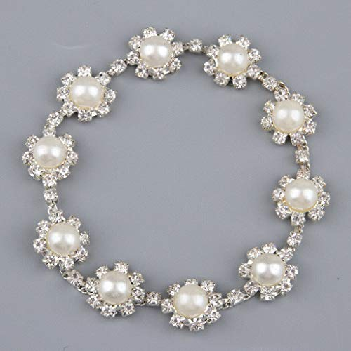 Crystal Chains Banding Diamond Inlaid White Pearl Beaded Rhinestones Jewelry   Color - White
