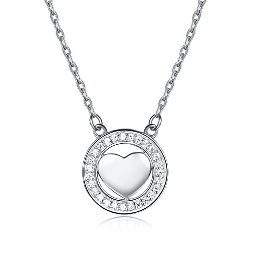 YJEdward Fashion Jewelry 925 Silver Heart Simulated Diamond Wedding Necklace Gift For Women by YJEdward