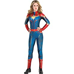 Costumes USA Light-Up Captain Marvel Halloween Costume for Women, Medium (6-8), Includes Jumpsuit and Illuminated Crest Red/Blue