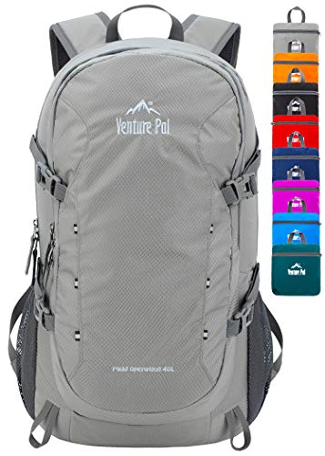 Venture Pal 40L Lightweight Packable Backpack with Wet Pocket - Durable Waterproof Travel Hiking Camping Outdoor Daypack for Women Men-Gray