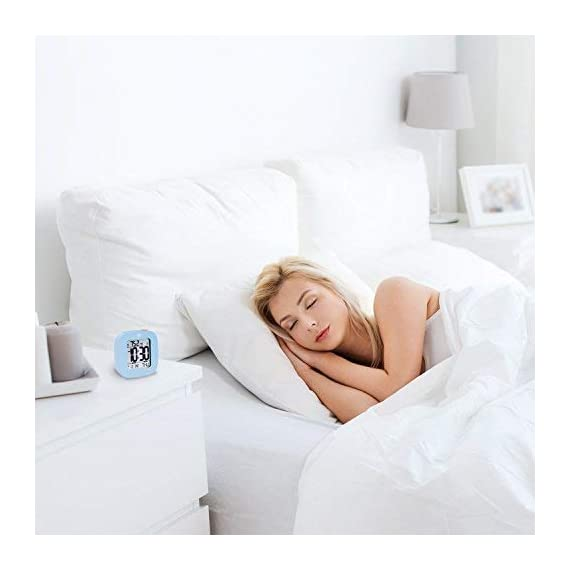MARATHON CL030058BL Compact Alarm Clock with with Snooze, Light Feature, Temperature and Date - Blue - Batteries Included - EASY TO SET- Large and easily accessible primary buttons. Hold the top red alarm button for 3 seconds to activate and set the alarm time COMPACT- Compact and lightweight, measuring in at 3.1 x 1 x 3 in (L x W x H). LIGHT- Super illumination cool blue backlight. Button activated backlight is gentle on the eyes while providing maximum illumination. Display remains illuminated for approximately 5 seconds. - clocks, bedroom-decor, bedroom - 410irgxPoUL. SS570  -