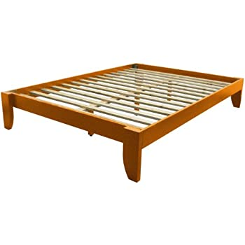 epic furnishings stockholm solid wood bamboo platform bed frame full size medium oak finish