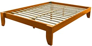 epic furnishings copenhagen all wood platform bed frame king medium oak
