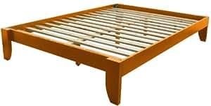 Epic Furnishings Stockholm Solid Wood Bamboo Platform Bed Frame, Queen-size, Medium Oak Finish